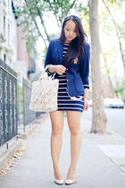 white lace buco bag - navy stripes J Crew dress