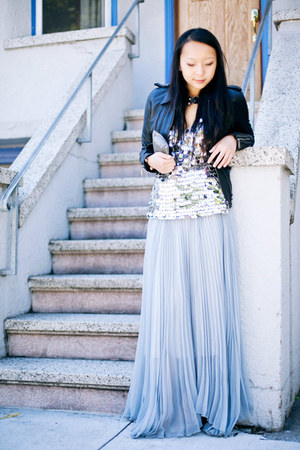 periwinkle maxi skirt - black leather jacket jacket - silver sequin top