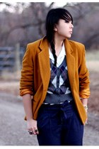 mustard vintage blazer - navy Urban Outfitters pants - camel Michael Kors boots