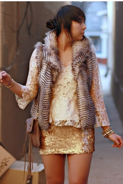lace thrifted blouse - fringe Rebecca Minkoff bag - sequin Charlotte Russe skirt