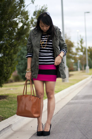 hot pink bandage Forever21 skirt - army green military jacket Forever 21 jacket
