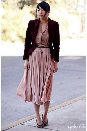 light pink Forever 21 skirt - camel Dollhouse shoes - crimson VintageThrifted bl