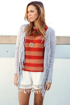 heather gray fringe Oliveaceous cardigan - red stripes tree people sweater