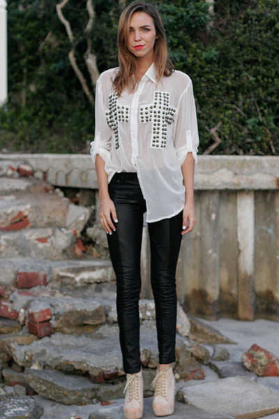 studs Reverse blouse - vegan leather BLANKNYC pants