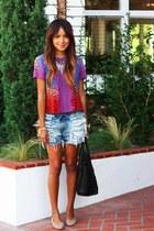 bold colors Nanette Lepore blouse - vintage Levis shorts - dvf flats
