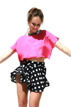 black polka dots Tusc Boutique shorts - hot pink crop top Tusc Boutique top