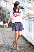 bronze Zara boots - white Zara t-shirt - navy Zara skirt