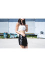 Black-haute-hippie-skirt-ivory-zara-bra-dark-gray-pony-sneakers