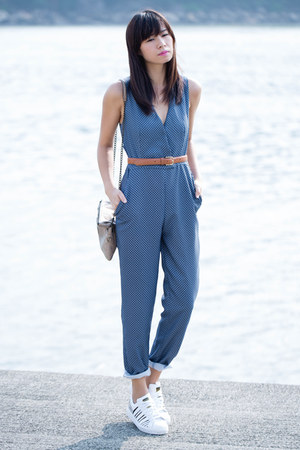 blue Zara romper - tawny American Apparel belt - white Adidas sneakers