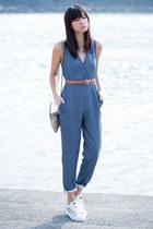 blue Zara romper - tawny American Apparel belt - white Adidas sneakers