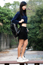 black homanz bag - navy Zara sweater - white ASH sneakers