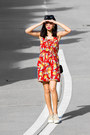 Red-ezzentric-topz-dress-black-monki-sunglasses-beige-superga-sneakers