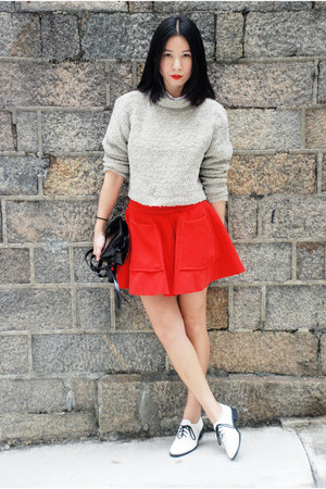 ruby red custom made skirt - white American Apparel shoes