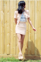 light pink vintage jacket - salmon asos sunglasses - light pink vintage skirt