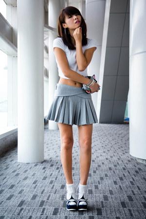 heather gray Zara skirt - white Zara top - navy YSL wedges
