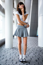 heather gray Zara skirt - white Zara top - navy YSL wedges