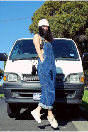 blue vintage jeans - ivory cotton on hat - black Monki bra