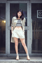beige Burberry jacket - black Forever 21 top - beige Topshop skirt