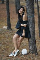 white American Apparel shoes - black Melissa Bui dress - white kate spade bag