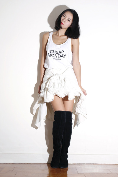 white American Apparel skirt - black scooters boots - white Cheap Monday vest