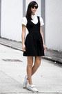 Zara-dress-white-american-apparel-shirt-white-converse-sneakers