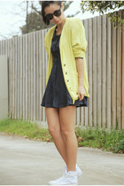 yellow vintage Ezzentruc Topz blazer - navy vintage Ezzentric Topz dress