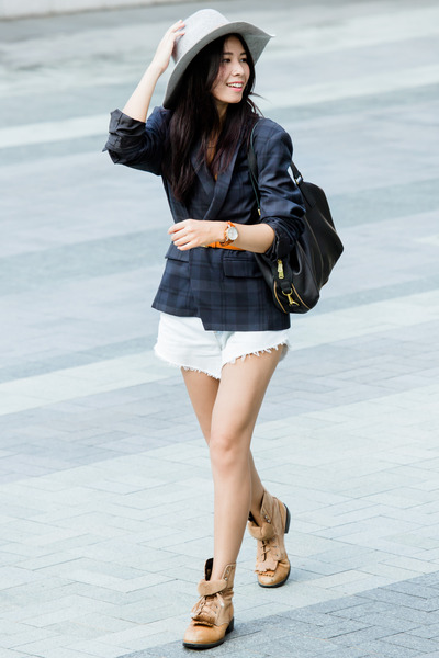 dark gray River Island jacket - black Fossil bag - light blue Levis shorts