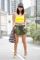 yellow American Apparel top - cream Palladium boots - army green Zara hat