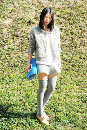 silver Monki jacket - blue kate spade bag - silver Zara socks