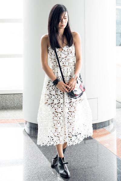 black Zara boots - white Self Portrait dress