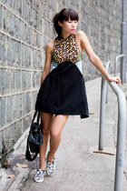 black Ksubi dress - black balenciaga bag - white Steve Madden sneakers