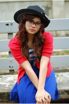 blue dress - black straw hat hat - red sweater - clear plastic glasses