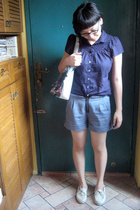 Zara blouse - Baylene shorts - Demano purse - Sperry Top Sider shoes