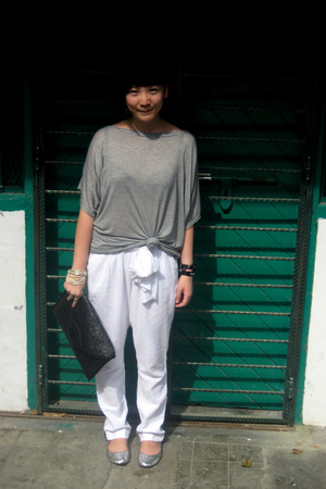 Topshop t-shirt - Zara pants - cotton on shoes - Lancome thrifted purse