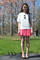 white H&M shirt - Urban Outfitters sunglasses - hot pink H&M skirt