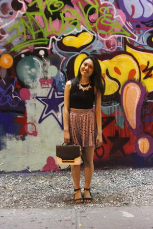Forever 21 bag - silk Uniqlo skirt - black Forever 21 top