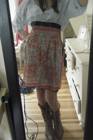 blouse - skirt - boots