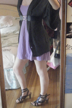 dress - sweater - belt - shoes