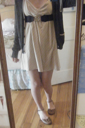 dress - belt - sweater - shoes
