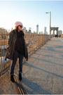Black-booties-boots-forever-21-coat-bubble-gum-pink-beanie-diy-hat