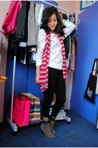 red Danice vest - white Forever 21 blouse - brown Mixx boots