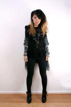 black bardot top - black cheeky monkey boots - gray Target cardigan - black Spor