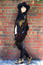 brown Jeffrey Campbell boots - black vintage hat - crimson vintage scarf - black