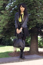 black rubi boots - black vintage jacket - chartreuse vintage shirt - black custo