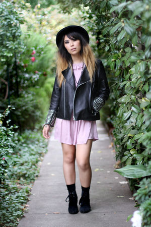 black custom made jacket - pink vintage dress - black custom made boots - black
