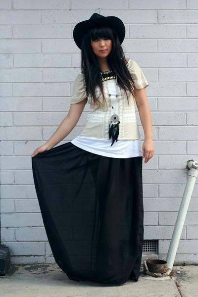black vintage hat - black DIY shirt - white supre top - beige sass&bide t-shirt
