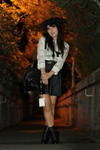 black RMK boots - black vintage bag - cream Sportsgirl top - black vintage skirt