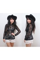 black akubra hat - off white Sample shorts - black vintage top - silver Sportsgi