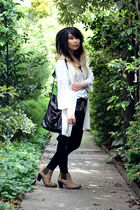 white vintage jacket - black DIY shorts - brown Jeffrey Campbell boots - black v