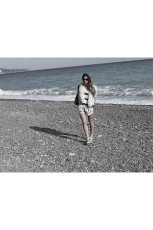 faux fur Zara vest - metallic gold Converse shoes - H&M shorts